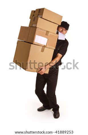 Isolated image of a messenger delivering a lot of boxes with a block and pen in his mouth