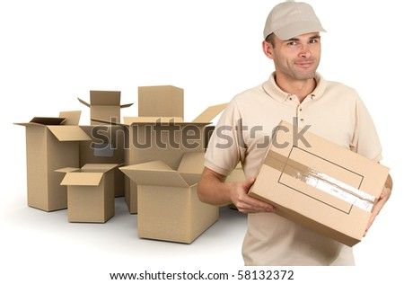 Isolated image of a messenger delivering a package with a lot of boxes on the background