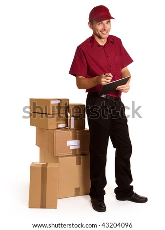 Isolated image of a messenger with clipboard and ball pen surrounded by packages