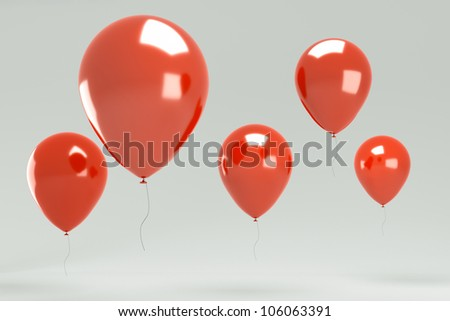 Isolated image of a red balloon over grey