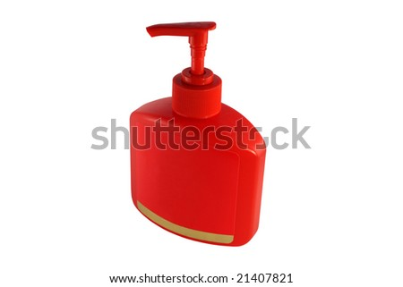 Isolated image of a red soap bottle with curve petcock