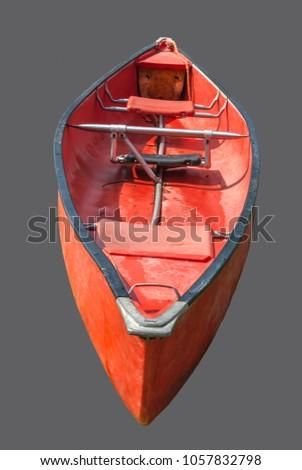 isolated image of a used orange canoe #1057832798