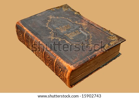 Isolated image of an Ancient Leather Bound Holy Bible with Brass clasp and decoration