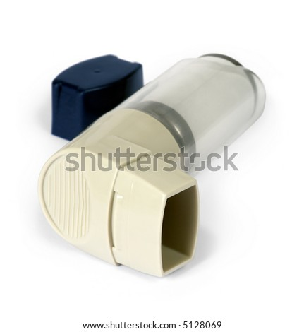 Isolated image of an asthma inhaler / puffer.