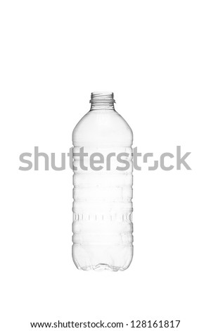 Isolated image of an empty water bottle over a white background