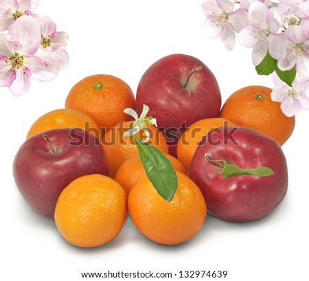 Isolated image of apples and citrus fruit on a white background