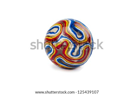 Isolated image of colorful toy marble over a white background