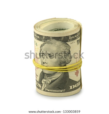 Isolated image of dollars on white background