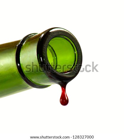 Isolated image of drop of wine from a bottle on a white background