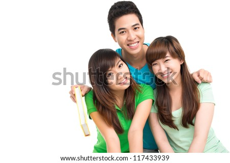 Isolated image of group of friends hugging for the camera