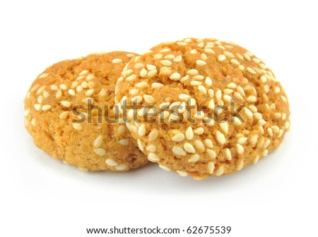 Isolated image of  sesame rice crackers.