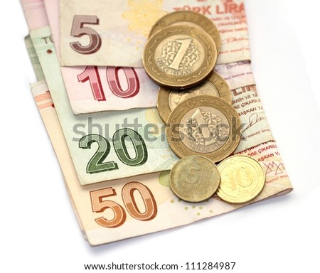 isolated image of Turkish lira coins and folded notes