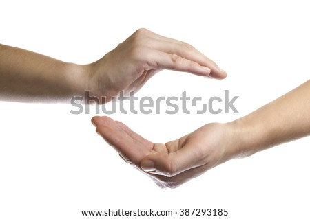 isolated image of two hands facing each other as a symbol of protection and insurance
