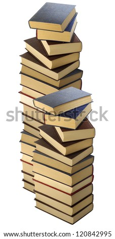 Isolated image of two piles of books on a white background