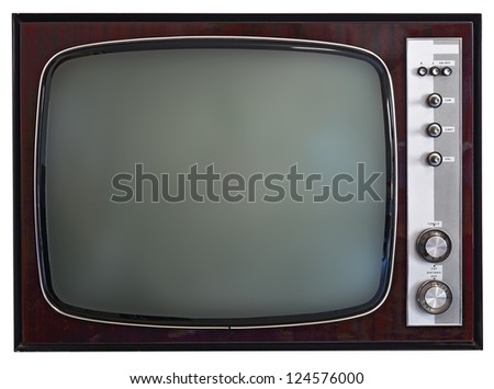 isolated image of vintage tv - stock photo