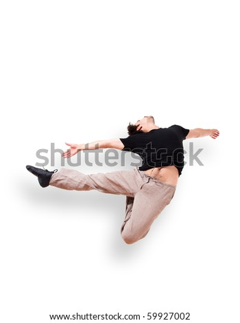 Isolated In motion jump 7 - stock photo