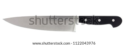 Isolated 8-inch chef's kitchen knife. Sharp...do not touch!