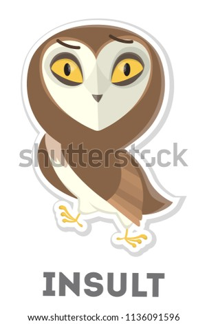 Stock Photo Isolated insulted cartoon owl on white background.