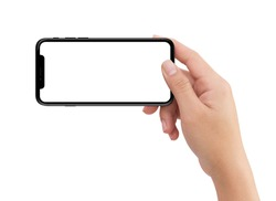 Isolated Isolated human right hand holding black horizontal smartphone phone on white background