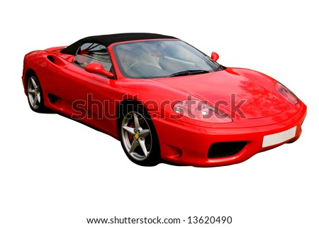 isolated italian red convertible supercar on white background