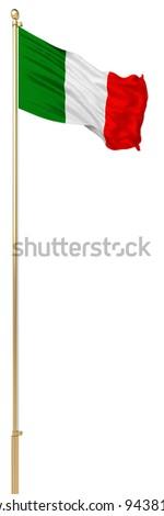isolated Italy waving silk flag - stock photo