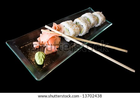 Isolated japanese food sushi on a plate