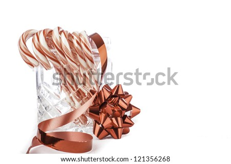 isolated jar of candy canes with space for custom text