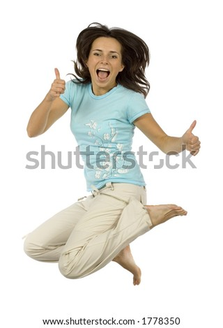 isolated jumping happy woman