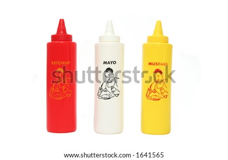 Isolated Ketchup, Mayo and Mustard bottles