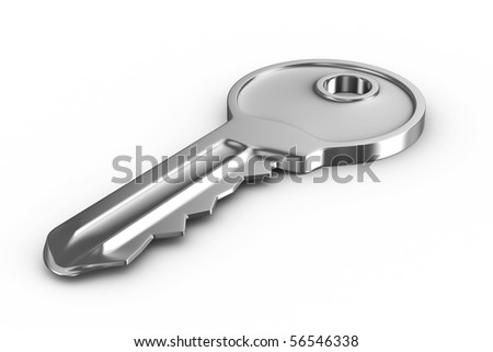 Isolated key on white background. 3D image