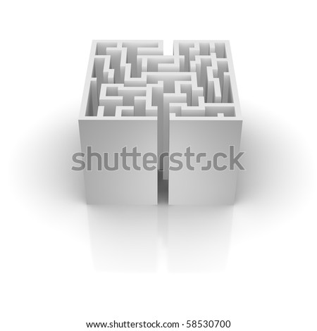 Isolated labyrinth with reflection. 3d rendered illustration.