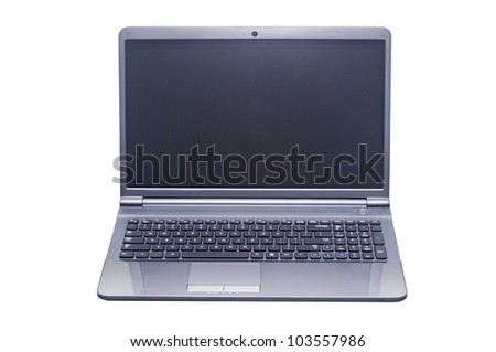 isolated laptop computer with 2 clipping path (laptop outline and screen) in jpg.