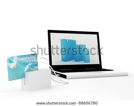 Isolated laptop with blue credit card - 3D Render