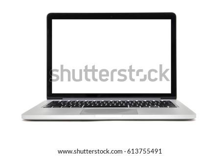 isolated laptop with empty...