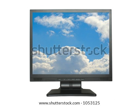isolated LCD with blue cloudy sky