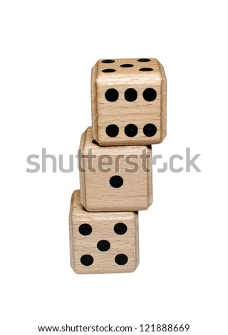 isolated leaning stack of wooden dice