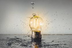 Isolated Led Light, Water Splash