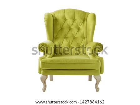 Isolated lemon armchair. Vintage velvet armchair. Insulated furniture. Yellow chair #1427864162