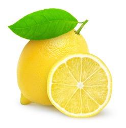 Isolated lemon. One whole lemon fruit and a half isolated on white background