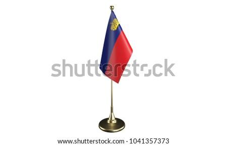 Isolated Liechtenstein desktop flag. 3d render