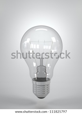 Isolated Light Bulb on grey blank background