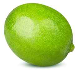 Isolated lime fruit. One whole lime fruit isolated on white background with clipping path