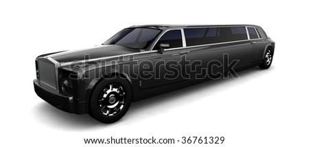 Isolated limousine on white