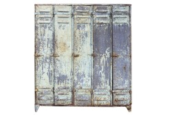 Isolated lockers on white background,Locker in old and rusty