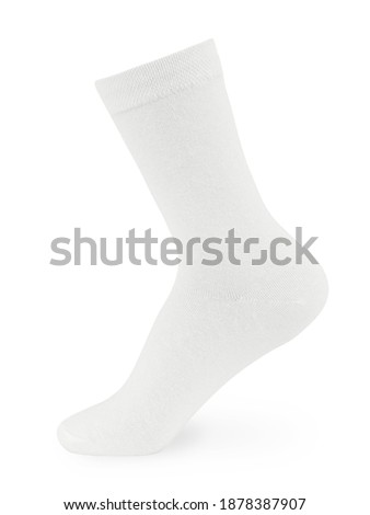 Isolated long white sock on invisible mannequin foot on white background, side view