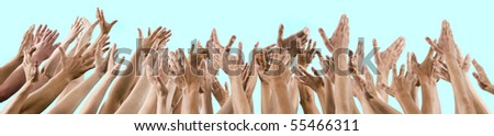 isolated lot of men's and women's hands raised up