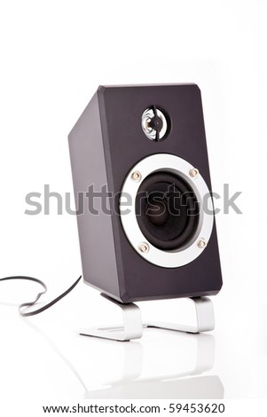 Isolated loud speaker on a stand with a cable