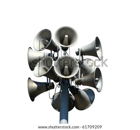 Isolated loudspeakers with a natural white background