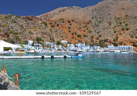 "Isolated ""Loutro"" village at Crete island in Greece. Area of ""Chora Sfakion"""