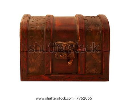 Isolated mahogany gift box